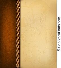 bruine , oud, illustration., ouderwetse , leather., papier, vector, achtergrond