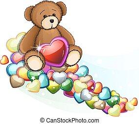 bruine , valentijn, hartjes, beer, teddy