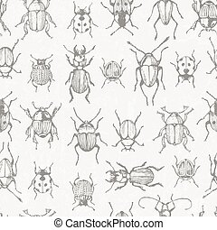 bugs., monochroom, seamless, model