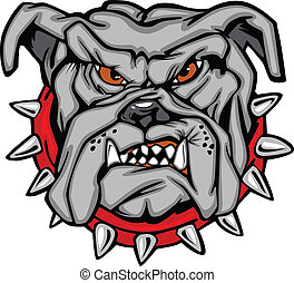 bulldog, vector, spotprent, gezicht