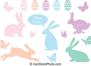 bunnies, set, pasen, vector