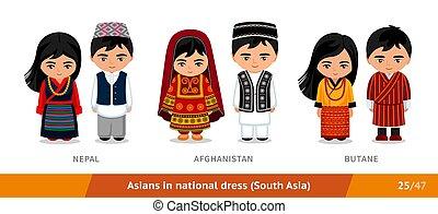 butane., ethnische , nationale, clothing., set, afghanistan, nepal, aziaat, dress., mensen, mannen, vervelend, vrouwen
