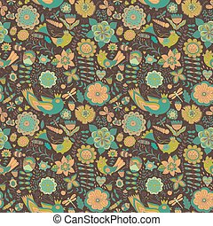 butterflies., bloemen, seamless, textuur, eindeloos