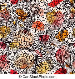 butterflies., seamless, textuur, model, floral, bloemen, eindeloos