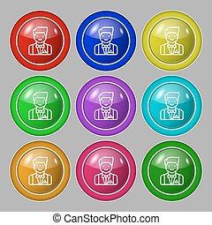 buttons., teken., symbool, vector, negen, lakeien, kleurrijke, ronde, pictogram