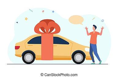 cadeau, auto, jonge, verwonderd, krijgen, man