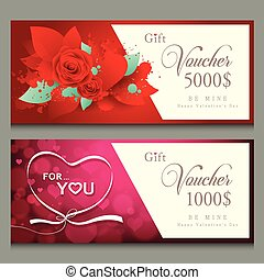 cadeau, illustratie, valentijn, vector, bon, dag, vrolijke