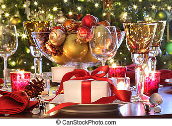 cadeau, vakantie, tafel, rood, vatting, ribboned