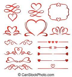 calligraphic, communie, pijl, dividers, set, dag, rood, valentijn