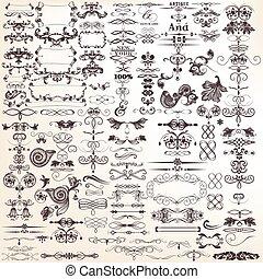 calligraphic, vector, verzameling, of, decorative elements, ontwerp, mega, set