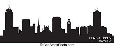 canada, gedetailleerd, silhouette, skyline, vector, hamilton