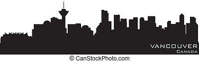 canada, gedetailleerd, silhouette, vancouver, vector, skyline.