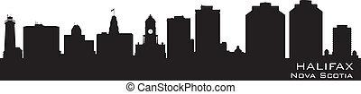 canada, gedetailleerd, silhouette, vector, skyline., halifax