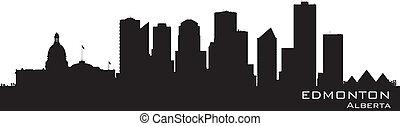 canada, skyline., gedetailleerd, edmonton, silhouette