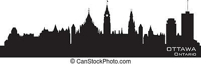 canada, skyline., gedetailleerd, ottawa, silhouette