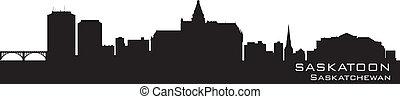 canada, skyline., gedetailleerd, saskatoon, silhouette