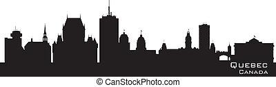 canada, skyline., quebec, silhouette, gedetailleerd