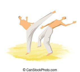 capoeira, illustration., mannen, twee, traditionele , krijgshaftig, vector, fighting., braziliaans, art.