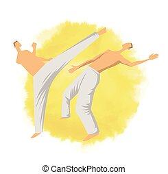capoeira, illutration, mannen, vrijstaand, twee, traditionele , krijgshaftig, vector, fighting., braziliaans, logo, art., white.