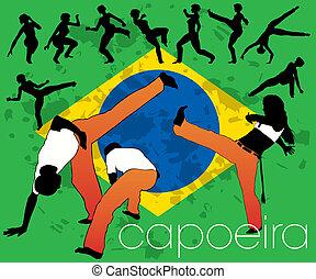 capoeira, set, silhouettes