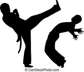capoeira, twee, vecht, man