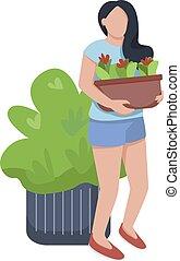 care, plat, vrijstaand, web, groen, bloem, jonge, groeiende, character., spotprent, vrouw, animatie, ontwerp, planten, vrouwlijk, vector, anoniem, illustratie, bloemen, grafisch, kleur, flowerbed