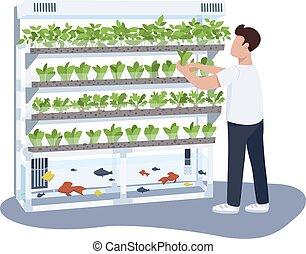 care, plat, vrijstaand, web, groen, broeikas, groeiende, character., spotprent, vissen, animatie, ontwerp, tuinman, planten, vector, anoniem, illustratie, man, grafisch, kleur, huiselijk