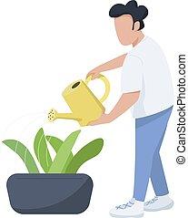 care, plat, web, vrijstaand, mannelijke , character., spotprent, animatie, groenteblik, tuinman, ontwerp, planten, horticulturist, vector, anoniem, illustratie, man, grafisch, watering, kleur, flowerbed