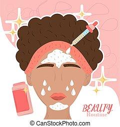 care, vrouw, huid, zich wenden tot, spotprent, routine, schoonheid producten