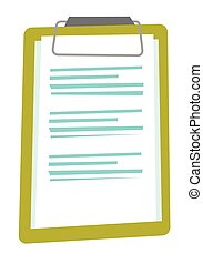 cartoon., klembord, vector, blad, papier