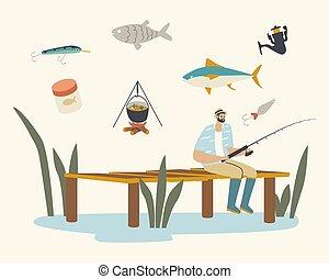 catch., visser, zomer, of, rivier, dag, hebben, meer, van hout landingsplaats, staaf, visserij, karakter, mannelijke , kalm, goed, zittende