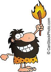 caveman, toorts, op, vasthouden, vrolijke