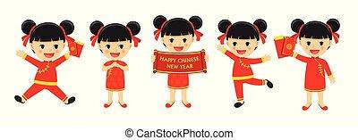 celebrate., set, chinese karakter, vrijstaand, spotprent, traditionele , achtergrond., jaar, nieuw, witte , vrolijke , meisje, kleren