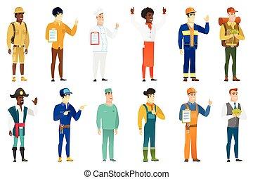 characters., beroepen, vector, set