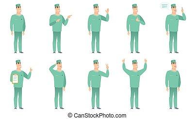 characters., chirurg, vector, set