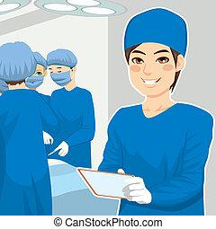 chirurgisch, mannelijke , verpleegkundige, tablet