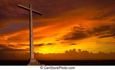 christen, achtergrond., sky., kruis, religie, ondergaande zon