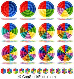 cirkeldiagram, set, doel, pictogram