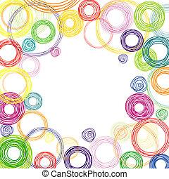 cirkels, abstract, plein, achtergrond kleurde
