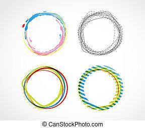 cirkels, abstract, set, vector, achtergrond.