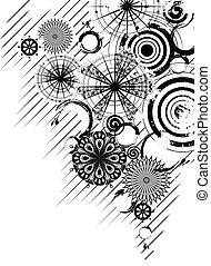 cirkels, witte , zwarte achtergrond