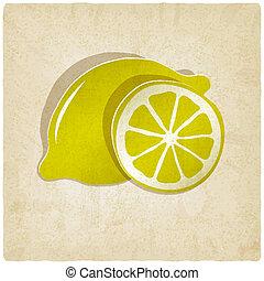 citroen, papier, oud, achtergrond, pictogram