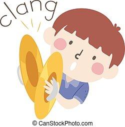 clang, geitje, cymbals, onomatopoeia, geluid, jongen