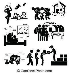 cliparts, evacuee, oorlog, refugees
