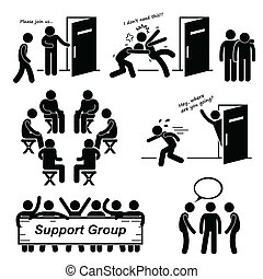 cliparts, groep, steun, vergadering