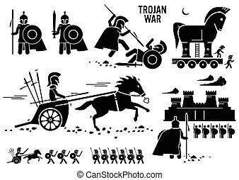 cliparts, trojan paard, oorlog