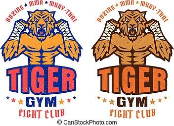 club, logo, sportende, vecht