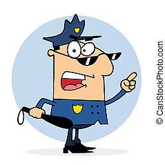 club, politieman, vasthouden