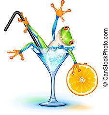 cocktail, kikker