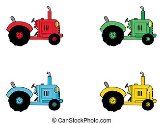 collage, boerderij, tractoren, digitale